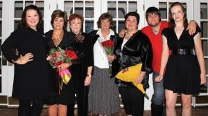 Pictured from left: Anna Oliver, Linda Simrell, Jan Kizer, Sacchi Doss, Sharmin Moss, Jonathan Johnson, Maggie Olmstead (Sheila Scott)