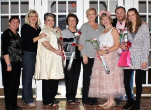 Pictured from left: Linda StClair, Catherine Nailling, Jenny Gilliland, Connie Norman, Lori Suiter, Stephanie McClanahan, Brian Johnson, Macy Thompson (Sheila Scott)