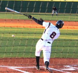 Junior Hagen Nelson unloads on a pitch late in the game. (Kalsey Butler)