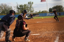 Leah Taylor prepares to hit the ball in game 12 against Eastern Kentucky University. (Malorie Paine)
