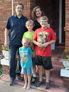 The Brown family gathers in front of their home in Martin, Tenn. Featured from left to right in the back row is Dr. Chris Brown; center is Leo Brown; and Merry Brown. Featured from left to right in the front row is Thomas; and Judah. (Sheila Scott)