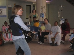 Dr. Julie Hill facilitates a drum circle at St. Jude Children's Hospital in Memphis, Tenn. (Julie Hill)