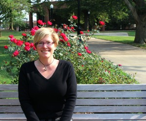 Dr. Julie Hill, associate professor of Music, percussion coordinator, takes a moment to enjoy the scenery in the UTM quad. (Sheila Scott)