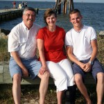 Dr. Michael Gibson is pictured with his wife, Edie, and his son, Brandt at Dauphin Island, Ala. During the summer of 2013 Dr. Gibson taught a marine geology course at the sea lab on Dauphin Island. (Michael Gibson)
