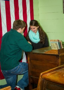 Sunday, Nov. 12, Jeremy Durpo from Kenton, Tenn., asked his high school sweetheart, Susan Douglas, a senior Elementary Education major from Hornbeak, Tenn., to marry him inside the quaint red-brick, one-room schoolhouse at the north end of Discovery Park of America. (Michael Hardin)