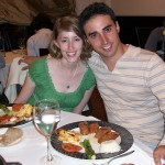 Dr. Erin Garcia-Fernandez and Dr. Anton Garcia-Fernandez enjoy a delicious meal at a restaurant in Vigo while on a trip to Spain. (Anton Garcia-Fernandez)