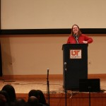 Assistant Professor of History and Philosophy Renee LaFleur introduces Dave Dennis. (John Sellers)