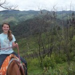 Lilly rides a mule up the mountain on the way to the Tolupan Indian village in Honduras. (Amy Burcham)