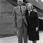Col. Tom and Kathleen Elam stand in front of the Kathleen and Tom Elam Center named in their honor by the UT Board of Trustees in 1994.  Col. Tom insisted that Ms. Kathleen's name be first on the building because of his great love and respect for her. (UTM Archives)