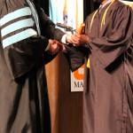 L-R Chancellor Tom Rakes and Obi Nwankwo (Sheila Scott)