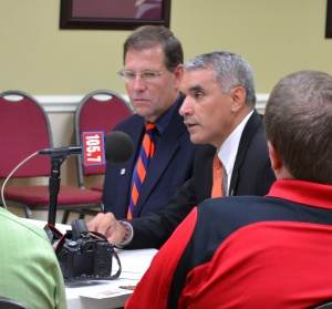 Athletic Director Julio Friere addresses the media prior to Monday's meet-and-greet with Coach Robinson. (Photo Credit/Matt Bodkins)